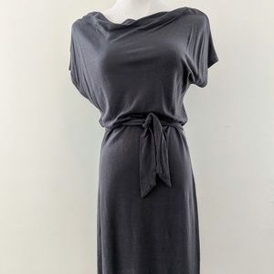 Gray Tie-Belt Lucy Midi Dress